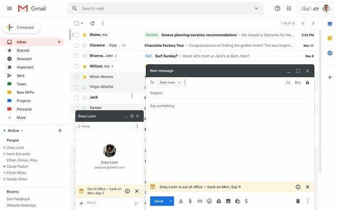 Google Gmail fora do escritório