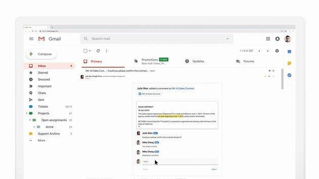 Exemplo de gmail interativo