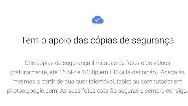 Google Fotos armazenamento imagens