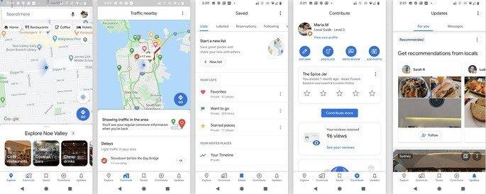 Google Maps categorias