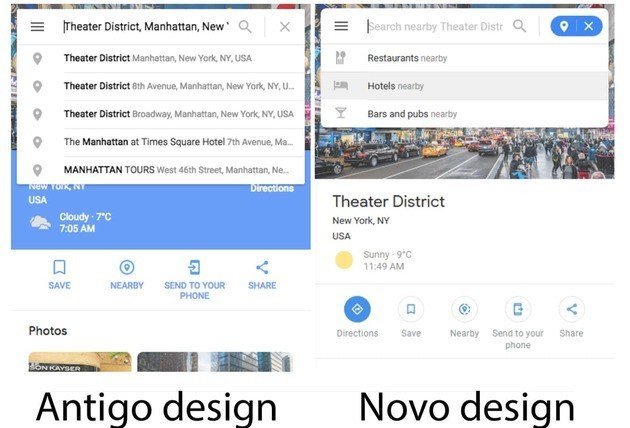 Google Maps novo design web