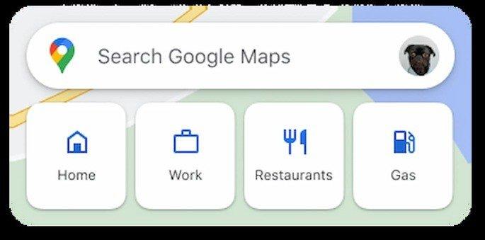 Design do novo widget de pesquisa do Google Maps para Android. Crédito: XDA-Developers
