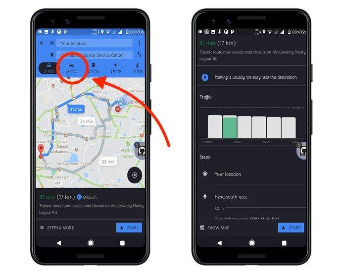 Moto de Google Maps