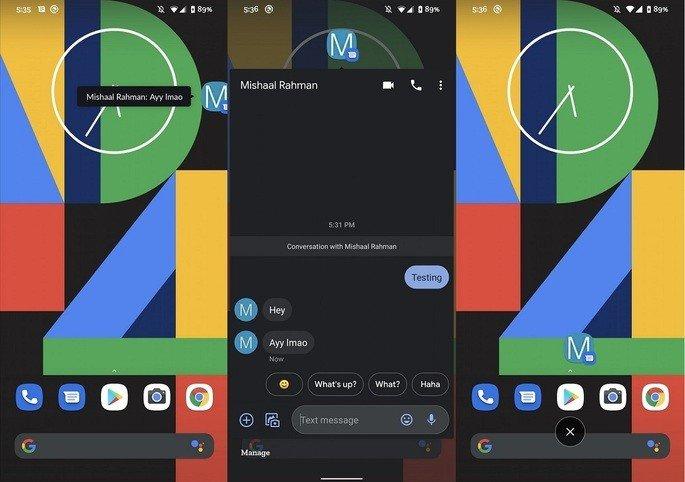 Mensagens Android bolhas