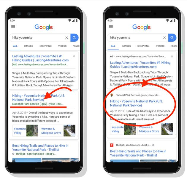 Google search changes