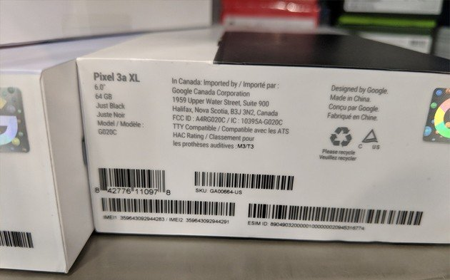 Google Pixel 3a XL caixa