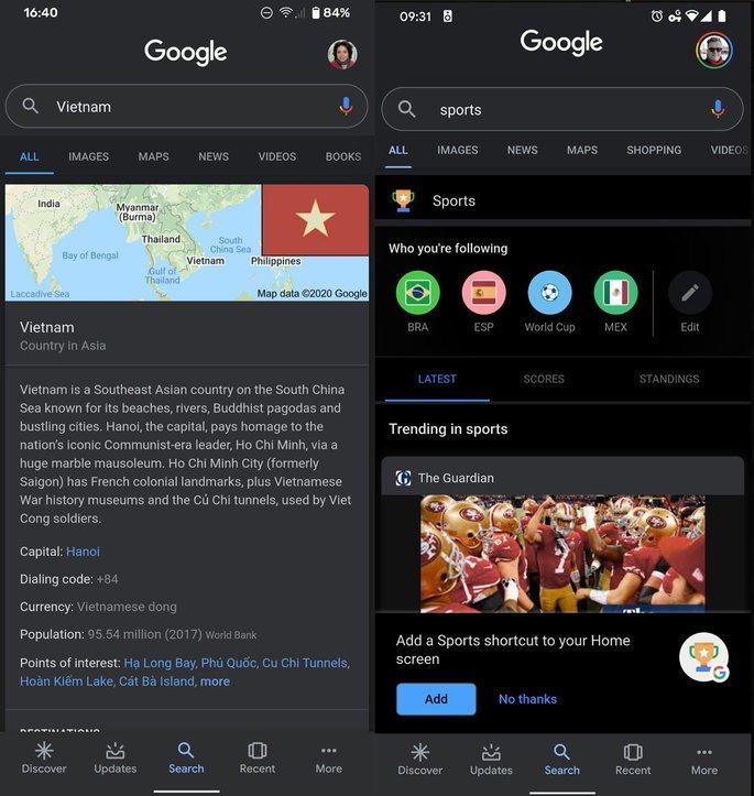 Do lado esquerdo temos o Dark Mode neste momento e do lado direito a nova versão no Google Chrome Dark Mode