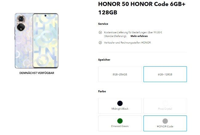 Honor 50 smartphone Android