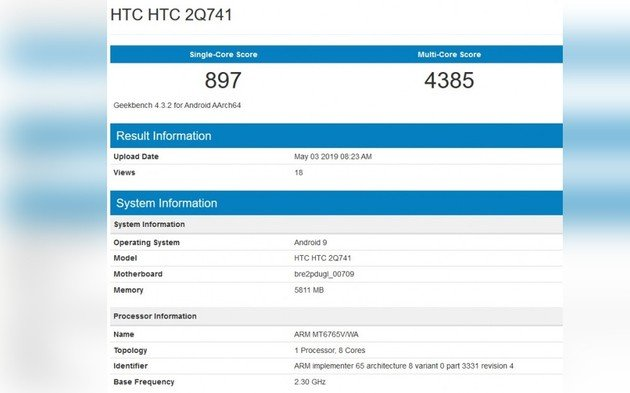 HTC smartphone MediaTek