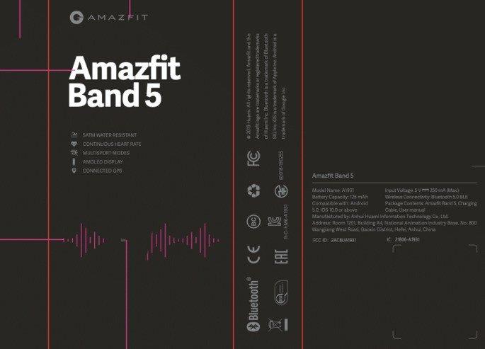 Caixa da Amazfit Band. Crédito: FCC