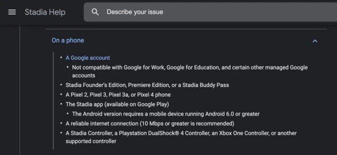 Google Stadia requisitos