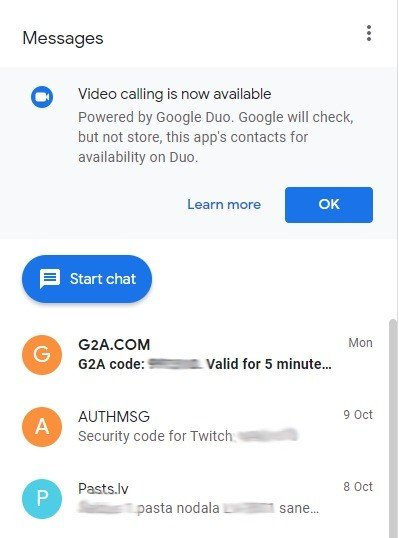 Mensagens Google Duo