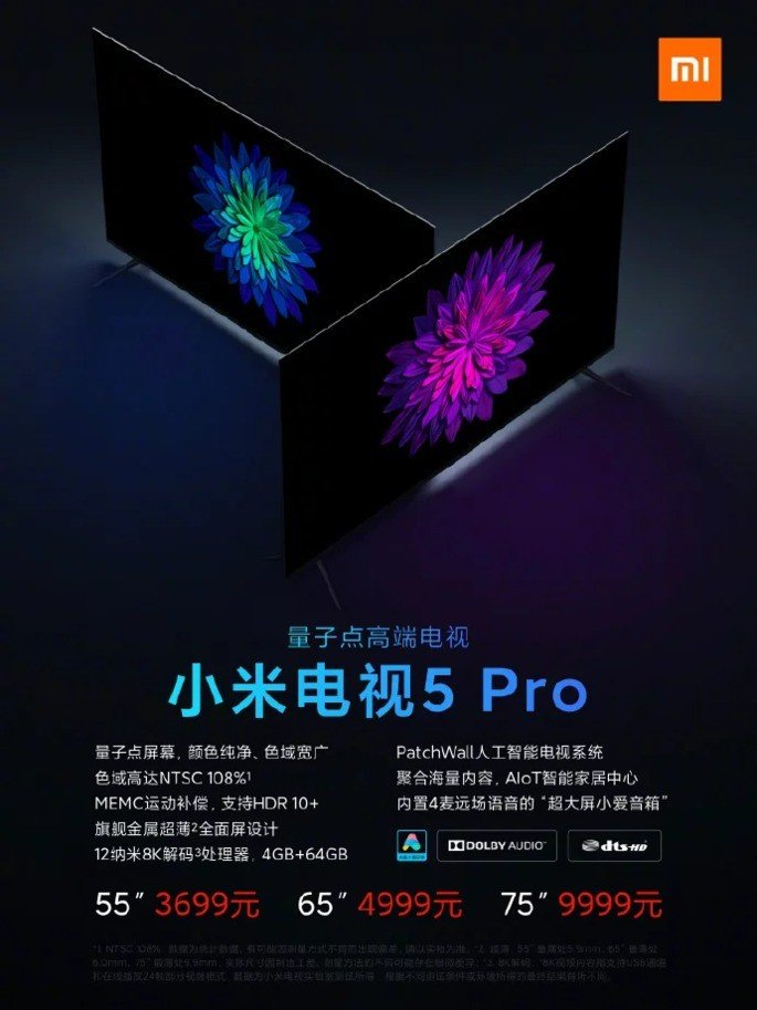 Xiaomi Mi TV 5 Pro preços