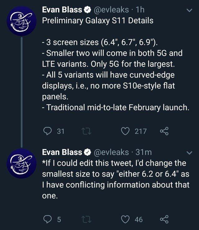 Samsung Galaxy S11 evan blass
