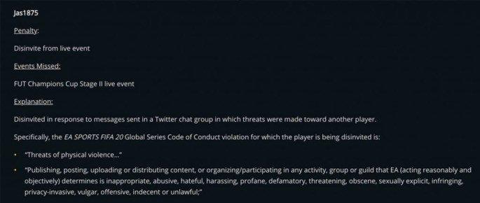 Declarações da EA Sports