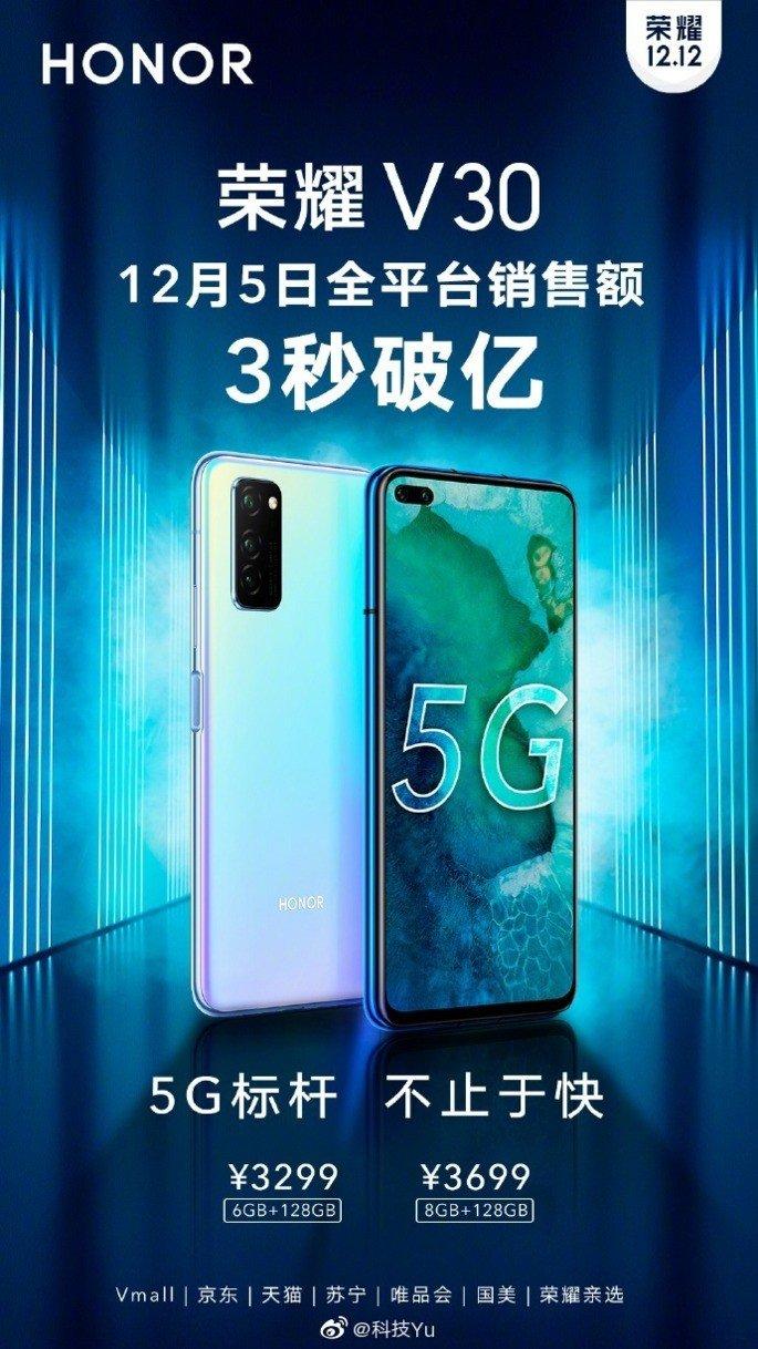 Huawei Honor V30 100 milhões 3 segundos