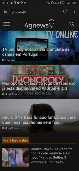 Opera para Android 4gnews dark mode
