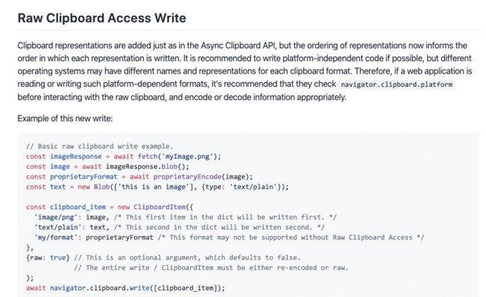 Google Chrome Raw Clipboard Access