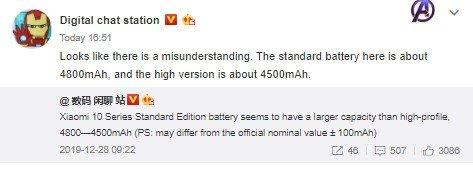 Xiaomi mi 10 bateria