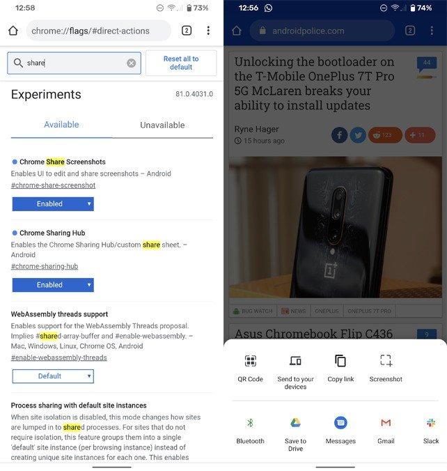 Google Chrome partilha Android