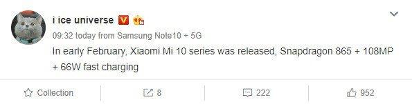 Ice Universe Xiaomi Mi 10