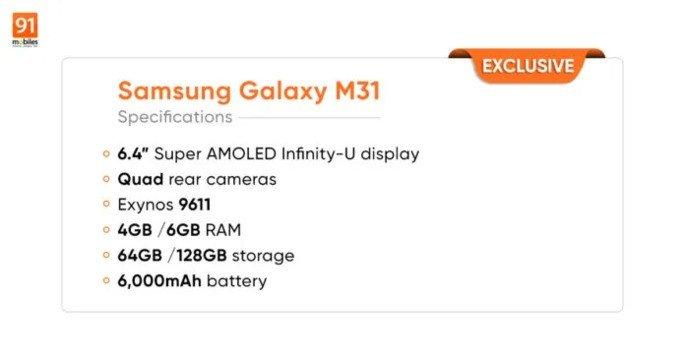 Samsung Galaxy M31 specs