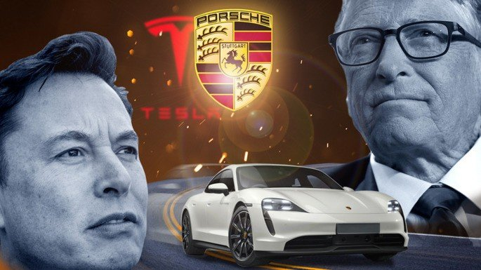 Elon Musk Bill Gates Porsche Taycan Tesla Model S