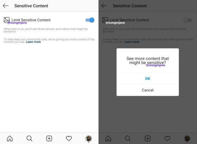 Instagram Conteúdos sensíveis