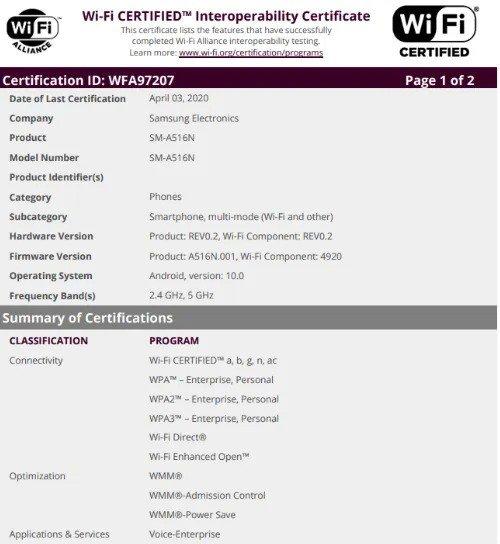 Samsung GAlaxy A51 5G wi-fi