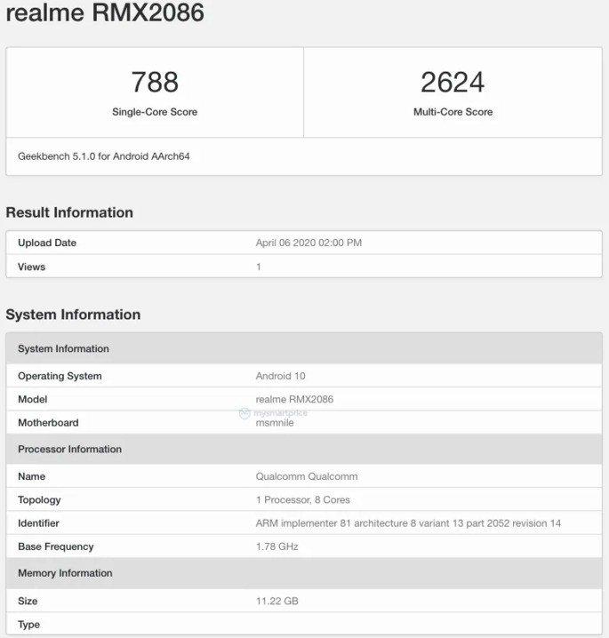 Realme X3 SuperZoom Geekbench