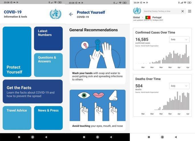 Organização Mundia de Saúde COVID-19 aplicação android