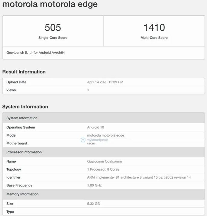 Motorola Edge Geekbench