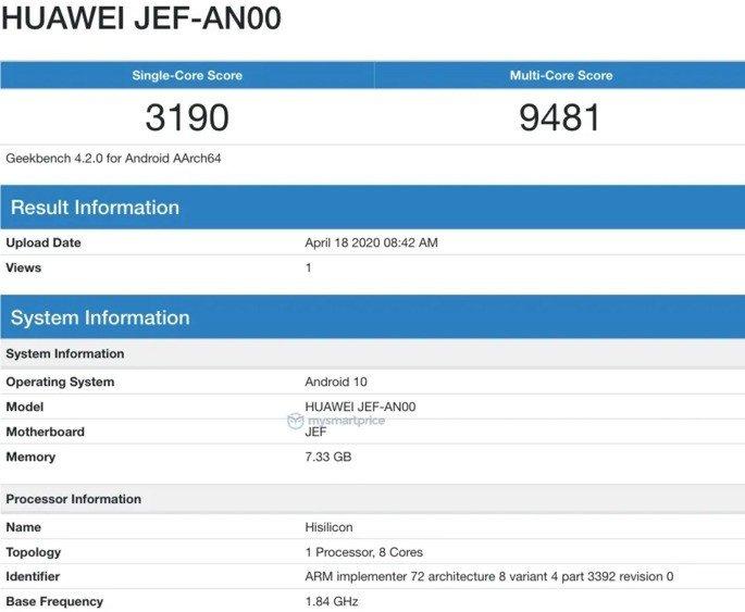 Huawei Nova 7 Geekbench