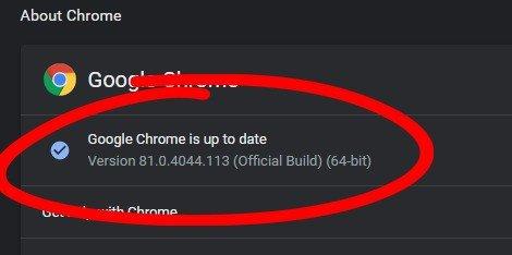 Google Chrome Atualização