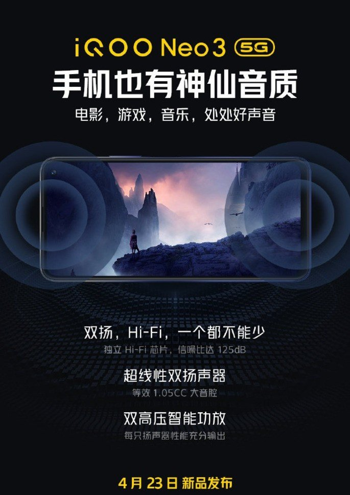 iQOO Neo 3 5G colunas estéreo