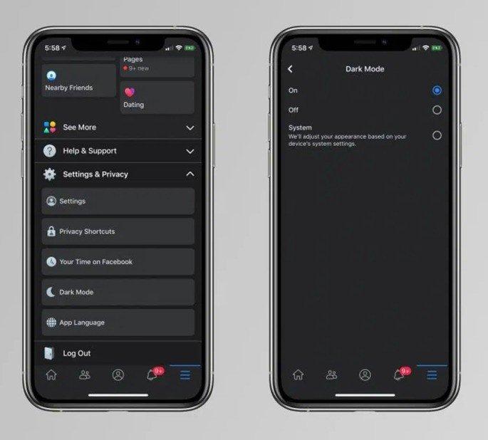 Facebook iPhone Dark Mode iOS