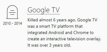 Cemitério Google TV