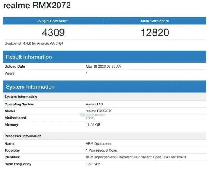 Realme X50 Pro Geekbench