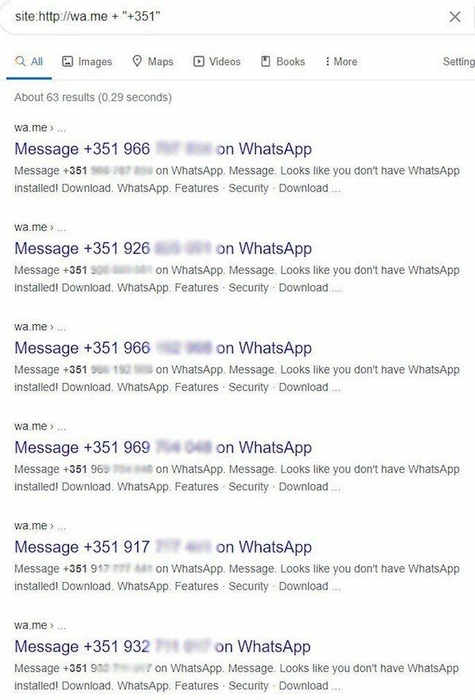 Pesquisa Google WhatsApp