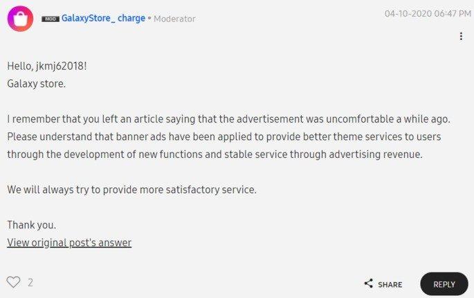 SAmsung publicidade moderador
