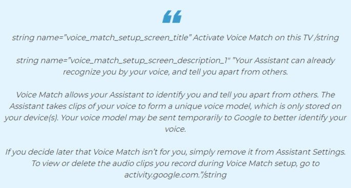 Google Assistant Android TV Voice Match