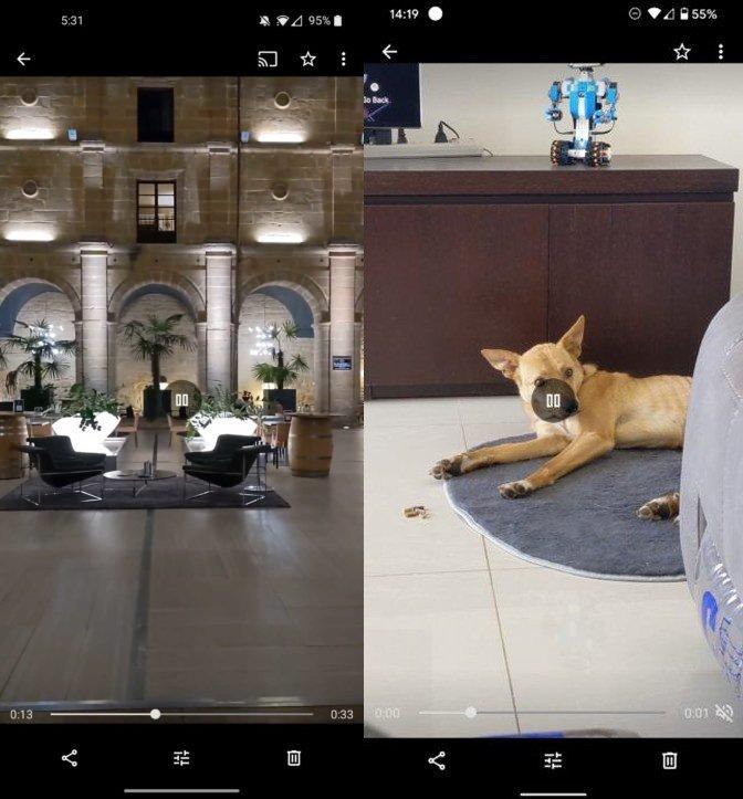 Google Fotos botão mute