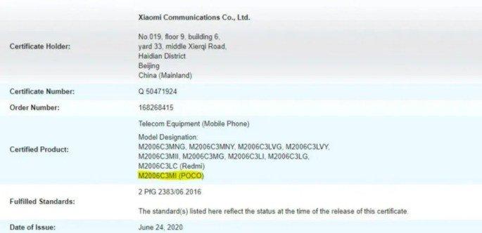 Xiaomi POCO M2 certificação