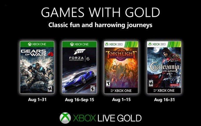 Xbox Live Gold grátis Agosto