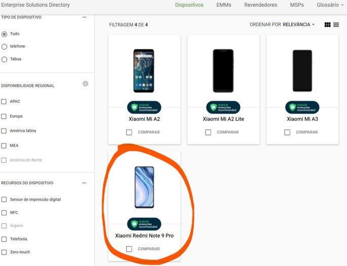 Xiaomi Redmi Note 9 Pro certificação Google