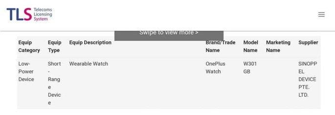 OnePlus Watch certificação