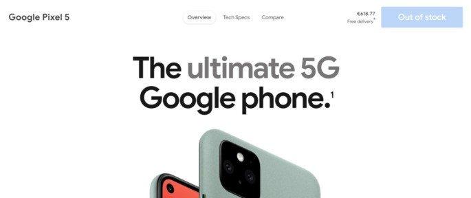 Google Pixel 5 esgotado Europa