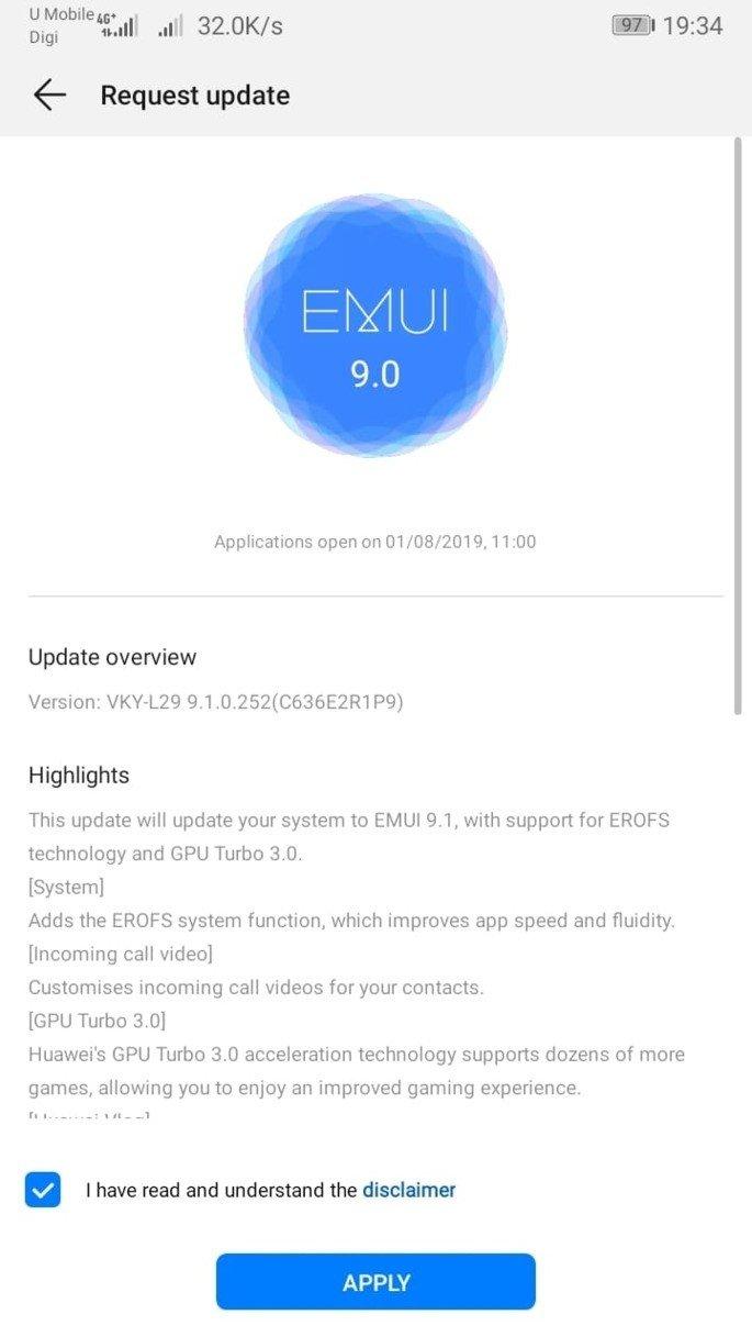 Huawei P10 Plus EMUI 9.1