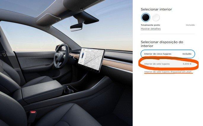 Tesla Model Y de 7 lugares Portugal