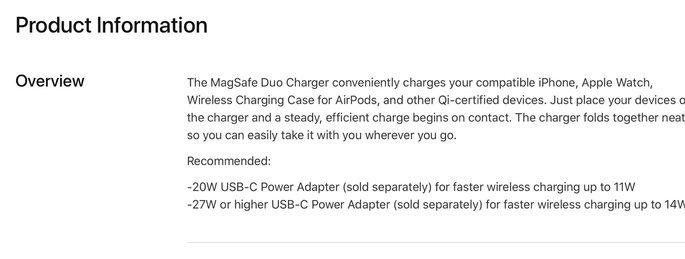 Detalhes do MagSafe Duo no site da Apple. Crédito: Mark Gurman